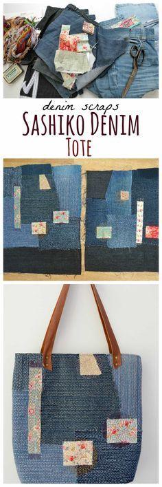 How to make a Sashiko Denim Tote Bag- Tutorial - Free Bag Pattern - DIY Bag - vicky myers creations