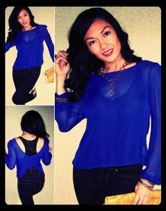 $28 Open Back Chiffon Blouse in Royal Blue