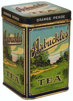 Vintage tea tin caddy