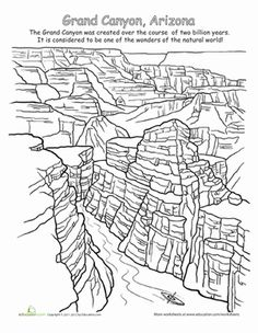 National Parks Grand Canyon Coloring WorksheetsColoring PagesElementary TeachingHomeschooling