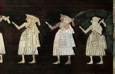 Soldiers with battle-axes. Detail of a victory parade. From the temple of Ishtar, Mari, Syria. 2400 BCE Schist panel inlaid with mother-of-pearl plaques.  Louvre Museum