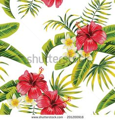 tropical flowers and plants pattern - stock vector