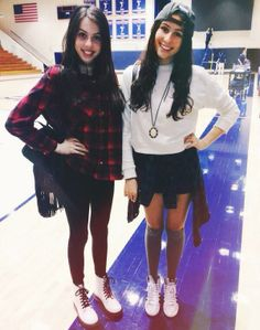 What you wear to watch a volleyball games? This is outfit of Dani Cimorelli (left) and Lauren Cimorelli (right)
