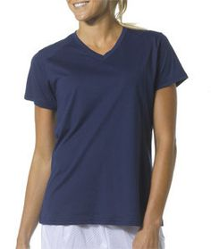 NW3232 A4 Ladies' Fusion Short-Sleeve V-Neck Tee Navy