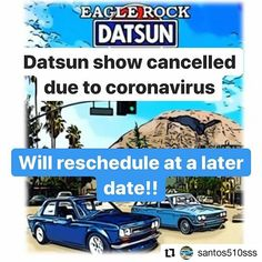 We regret to inform you that the Eagle Rock Datsun Swap Meet on Sunday has been postponed to a later date. Please stay safe and let's be kind to each other during these times. We're all in this together!   #Repost @santos510sss       Sorry friends Datsun swapmeet event canceled for this weekend do to the coronavirus outbreak. We will reschedule on a later date! Eagle Rock, Stay Safe, Regrets, Nissan, Sunday, Dating, Meet, Let It Be, Events
