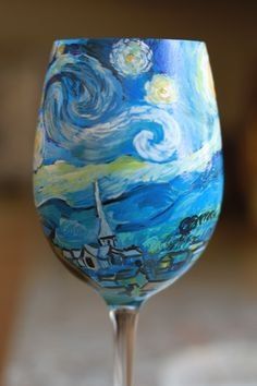 Van Gogh Inspired Hand Painted Wine Glass Featuring The Starry Night https://www.etsy.com/listing/154496226/van-gogh-inspired-hand-painted-wine?ref=listing-shop-header-2