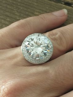 A Perfect 6.3CT Round Cut Brilliant Cut Double Halo Russian Lab Diamond Ring