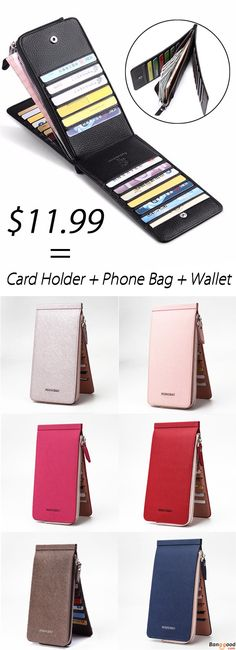 US$11.99 + Free Shipping. 6.6 inches 26 Credit Card Men Business Pu Long Wallet Card Holder Coins Bag. 8 Colors to Choose. Wallet + Card Holder + Phone Bag = Only $11.99. Buy Now.