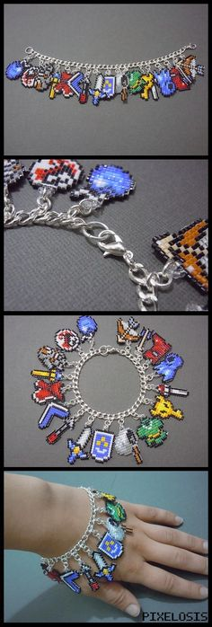 The Legend of Zelda Seed Bead Charm Bracelet PixelosisArtisan- To remember all the hours I spent on Saturday morning playing Zelda on the Nintendo