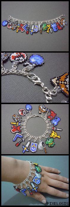 The Legend of Zelda Seed Bead Charm Bracelet PixelosisArtisan #DIY