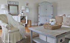 Pottery Barn Ottomans and Benches | Family Room Reveal-Thrifty, Pretty & Functional