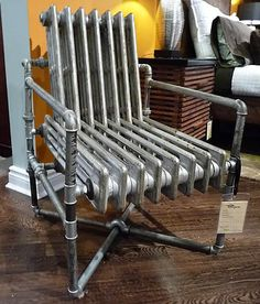 radiator-chair, a one-of-a-kind sculpture from Von Thiel and Co. at a shop in Toronto. At CDN$1,490
