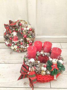 Christmas Advent Wreath, Winter Christmas, Christmas Decorations, Holiday Decor, Ideas Para, Centerpieces, Home Decor, Xmas, Creative