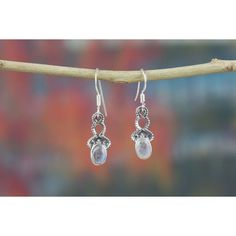 Fantastic Silver Moonstone Drop Earrings Artisan Jewellery via Polyvore featuring jewelry and earrings