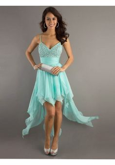 A-line Spaghetti Straps Chiffon Blue Cocktail Dresses/Short Prom Dress With Beading #USALF105
