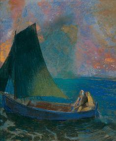 Sailing Boat with Two Passengers (La Barque) Odilon Redon. Open. 1900.