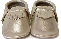 SnuggleRoo Leather Baby Moccasins - Soft Sole - Slip on Shoes with Stylish Frinde- Handmade - Goldie - Available at babymoccasinsshoes.com