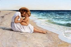 Sharing The World Together: Painter Marie Witte Mother Art, Mother And Child, Beach Art, Ocean Beach, Vermont, Akiane Kramarik, Beach Drawing, The Sound Of Waves, Mothers Love