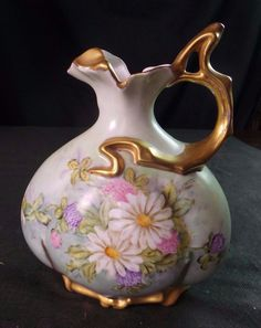 ANTIQUE LIMOGES HAND PAINTED PITCHER WITH GILDING SIGNED BY ARTIST  #Limoges