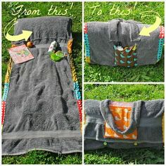 beach towel converted into portable beach bag/bed