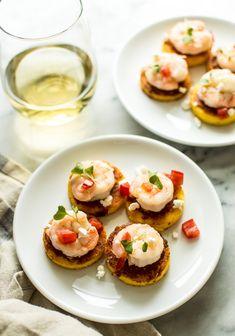 Cheesy Shrimp Polenta Bites - perfect gluten-free appetizer! | healthynibblesandbits.com