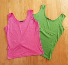 Set of Pink and Green A'NUE LIGNE Sleeveless Stretch Scoop Neck Tank Shirts L #ANUELIGNE #TankCami