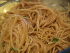 [Garlic-noodles]: spaghetti, 2 tbs butter, 1/2 cup chopped green onions, 2 tbs minced garlic, 2 tbs brown sugar, 1 tsp soy sauce, 1 tbs oyster sauce  Cook noodles and drain. Melt butter in pan add garlic  green onion. Add brown sugar, soy sauce,  oyster sauce, mix well then add noodles, toss to coat.
