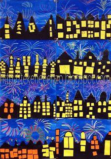 vuurwerk met wasco, blauwe ecoline en zwart papier