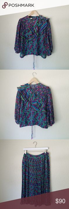 Spotted while shopping on Poshmark: VTG Diane Freis Georgette Skirt Top Set One Size! #poshmark #fashion #shopping #style #Diane Freis #Dresses & Skirts