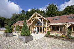 Waitrose Farm Shop, Leckford Estate- merging tradition with innovation. Oak Framed Buildings, Farm Shop, Energy Efficient Homes, Beautiful Homes, Innovation, Commercial, Construction, Restaurant, Cabin