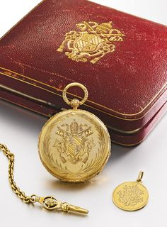 AGASSIZ WATCH CO., A YELLOW GOLD HUNTING CASED WATCH WITH THE COAT-OF-ARMS OF THE BLESSED POPE PIUS XI CIRCA 1850