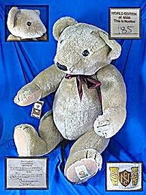 """Large Nisbet limited edition Teddy Bear  Very large standing 24 inches tall House of Nisbetlimited Deli inspired ' The Way We Were Series"""" fully jointed in mohair number 185 of 5000. Comes with paper tag on his right wrist and the limited edition certificate signed by Jack Wilson. House of Nisbet Teddy Bear Identification In 1980's an embroidered label was stitched on the left foot pad."""