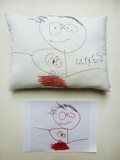 Création textile Zut! pièce unique  Dessin de Ulyxes 3 ans Autoportrait. http://www.atelier-zutfrance.com/