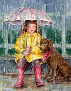 Waiting for Sunshine - Barbel Amos / See...rain or shine, they're going to the Poodle Peace Parade. VFC