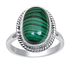 Orchid Jewelry 925 Sterling Silver 8.1 Carat Oval Cut Malachite Gemstone Ring (Silver-Ring Size-8), Women's, Multi