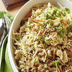 Uncooked ramen noodles. almonds. and sunflower nuts add extra crunch to this side salad. Quick to prepare and easy to tote. it's an obvious choice for potlucks and camping.