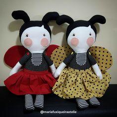 Bonecas Serelepe joaninha e abelhinha produzida em tecido tricoline 100% algodão