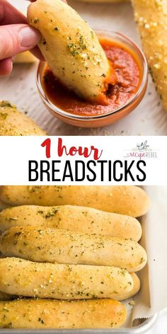 Homemade Breadsticks - 1 HOUR  Recipes These Homemade Breadsticks are better than Olive Garden! Ready in one hour from start to finish! #breadsticks #baking #bread #recipe | easy breadsticks | quick breadsticks Olive Garden Breadsticks, Homemade Breadsticks, Homemade Buns, Breadstick Recipe, Side Dish Recipes, Easy Dinner Recipes, The Recipe Rebel, Cooking Recipes
