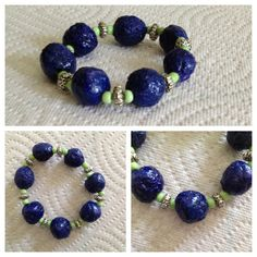 HANDMADE COBALT BLUE BRACELET FROM RECYCLED PAPER/GLASS BEADS/SILVER-TONE BEADS