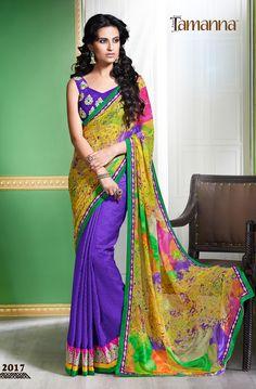 Product & Catalog: 2017-Rang Rasiya (cocktail) Type: Print with designer saree. Status: Available  For order: www.tamannasaree.com  #saree #indianwear #ethnicwear #festival #embroidery #designersaree