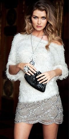 White furry top and champagne sequined mini skirt