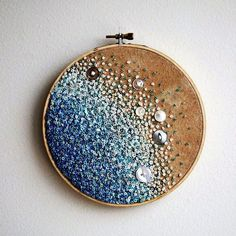 Calm Blue Sea -  Gradient Embroidery Hoop Art - French Knots Beads and Vintage Buttons