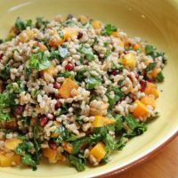 Farro Salad with Butternut Squash, Kale, and Pomegranates in a Maple Vinaigrette Dressing