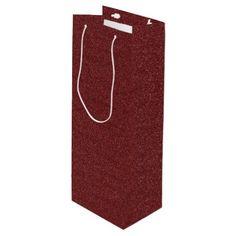 Maroon/Purple Faux Glitter Wine Gift Bag