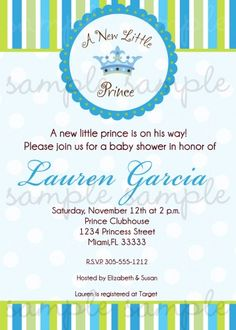 A New Little Prince Baby Shower Invitation | digiprintsbytnl - Cards on ArtFire