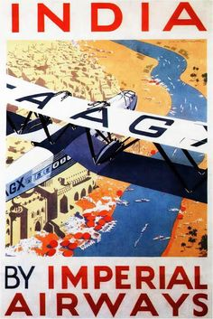 Painting - Imperial Airways Airplane Flying Over River Ganges In India - Vintage Travel Advertising Poster by Studio Grafiikka , Old Posters, Vintage Travel Posters, Vintage Ads, Vintage India, Vintage Cameras, Vintage Designs, Retro Airline, Airline Travel, Air Travel