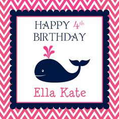 Hot Pink and Navy Whale Party/Shower Door Sign. $10.00, via Etsy.