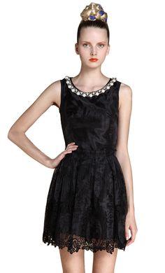 Black Sleeveless Bead Embroidery Silk Dress 9a2b1b8191d1