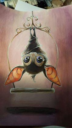 Bat By Bianca Roman Stumpff Cute Animal Drawings, Cute Drawings, Cute Birds, Halloween Art, Halloween Drawings, Halloween Tattoo, Pics Art, Cute Illustration, Halloween Illustration