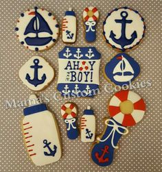 Ahoy it's a Boy! custom cookies. This beautiful assortment is the perfect addition to your dessert table or to give as favors. Contact Mama today to discuss your custom cookie needs 516-987-8296.  #ahoy #ahoyitsaboy #ahoymatey #boy #baby #babyboy #babyboy💙 #babyboyshower #babyboyshowerparty #nauticalbaby #nautical #babybottle #babyrattle #anchor #sailboat #babyshowerfavors #babyshower #dessert #desserts #desserttable #customcookies #mamascustomcookies